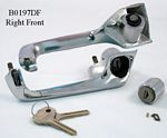 Door handle, outside, new manufacture, right side, front, with new key - B0197DF