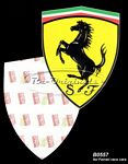 Decal for fender, cavallino rampant on yellow shield.  For Ferrari race cars. - B0557