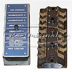 Fuse box, NOS, 8 fuse style, blue or black anodized plate on top with fuse descriptions/usage in Italian, 2 screws/knobs to hold cover. - E0098X