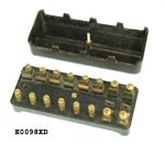 Fuse box, 8 fuse, NOS, vintage style of black/brown bakelite.  Wires held in with screws into brass terminals.  No label on top.  Top attached with single brass knurled knob - E0098XD
