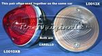 Taillight assembly, NOS, Carello, double pointed lens, red, rounded pointed style, pointed reflector inside. - L0010XB
