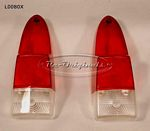 Taillight lens, superb remanufacture, red/red/clear. - L0080X