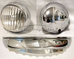 Fog light assembly, NOS, Marchal or Carello, oval style with stud mount in back, vertical ribs in glass - L0249X