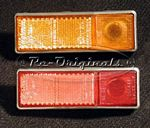 Side marker light/reflector, amber - with chromed plastic bezel/holder.  Light is 1/3 of entire unit, off to one side, the rest is the reflector.  Specify red or amber. - L0369X