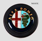 Horn button, NOS, Momo, black with Alfa emblem, specify with or without Milano script in emblem, for Momo steering wheel.  For accessory steering wheels only, not the original - N0105X