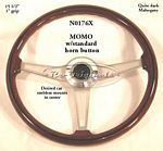 Steering wheel, wood, fits Momo hub, 390mm.  Dark style mahogany, black outer strip with engraved spokes like the vintage Ferrari steering wheels. - N0176