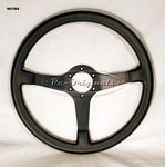 Steering wheel, NOS, Momo, solid black spoke style - N0184