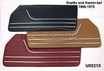 Door panels: new manufacture, correct heat-stitching, correct chromed trim, made on original dies, burgundy (#20150). - U0021X